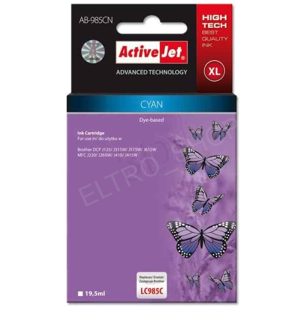 ActiveJet AB-985C | Cyan | 19,5 ml | Brother LC985C