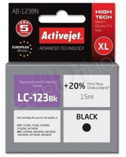 ActiveJet AB-123BN | black | 15 ml | Brother LC123Bk, LC121Bk